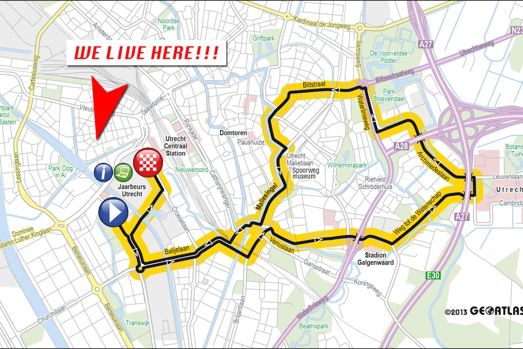 Our place and the route of the Tour de France on the 4th of July.