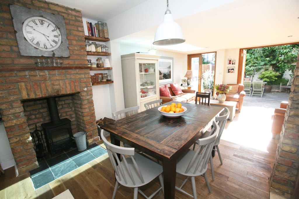 You can dine by the fire of the cosy woodburner
