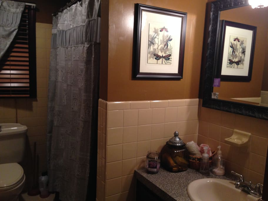 Bathroom with shower that is shared by renters of the two bedrooms available for rent.