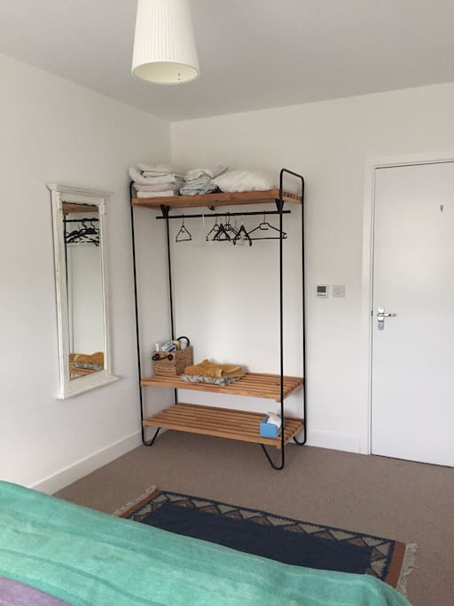 Space to hang your clothes and make yourself at home