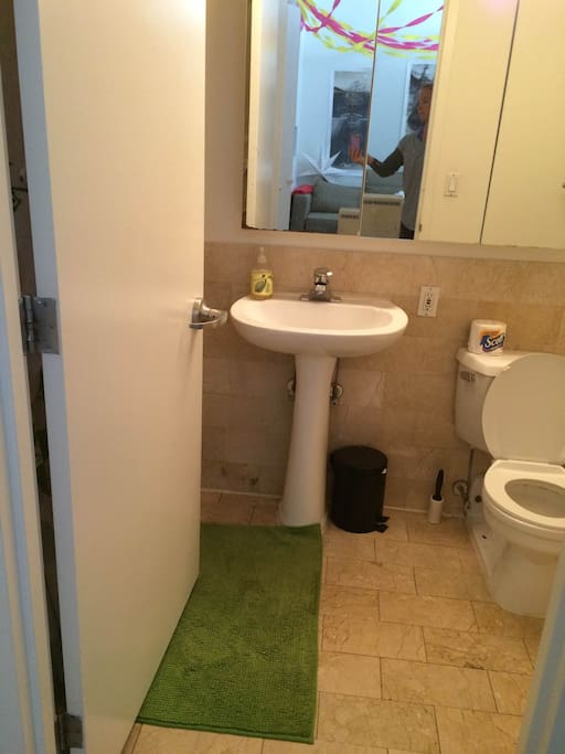 The bathroom you would be using. There is a full shower on the other side of the door.