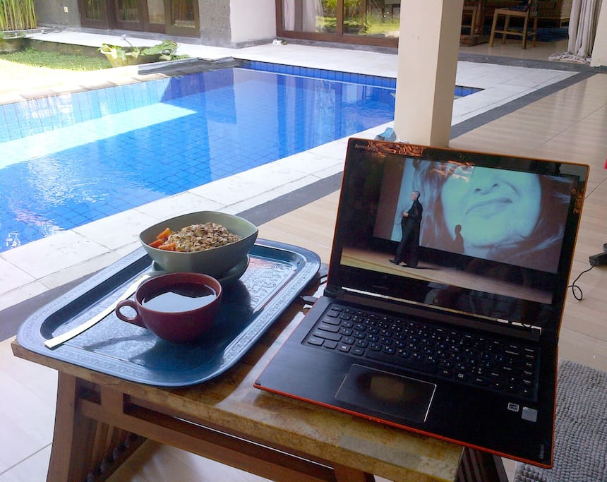 lazy breakfast pool view