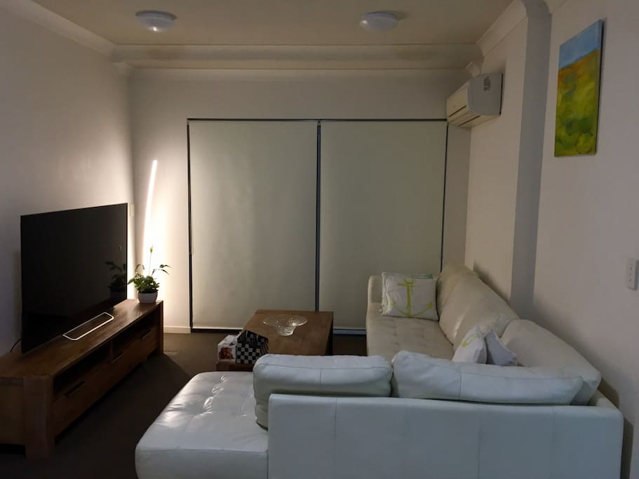 """Comfy living room --- real leather lounge, 60"""" Sony Smart HD TV, Air conditioning and original aboriginal art works."""