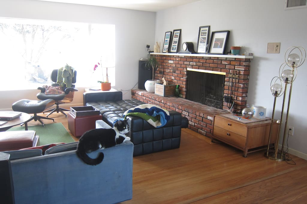 view of our living room (10 foot window! and working fireplace) when you first walk in the doors