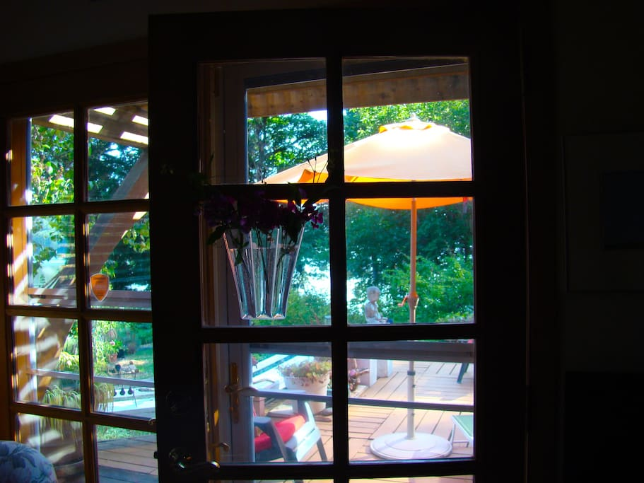 Looking out to deck from music room