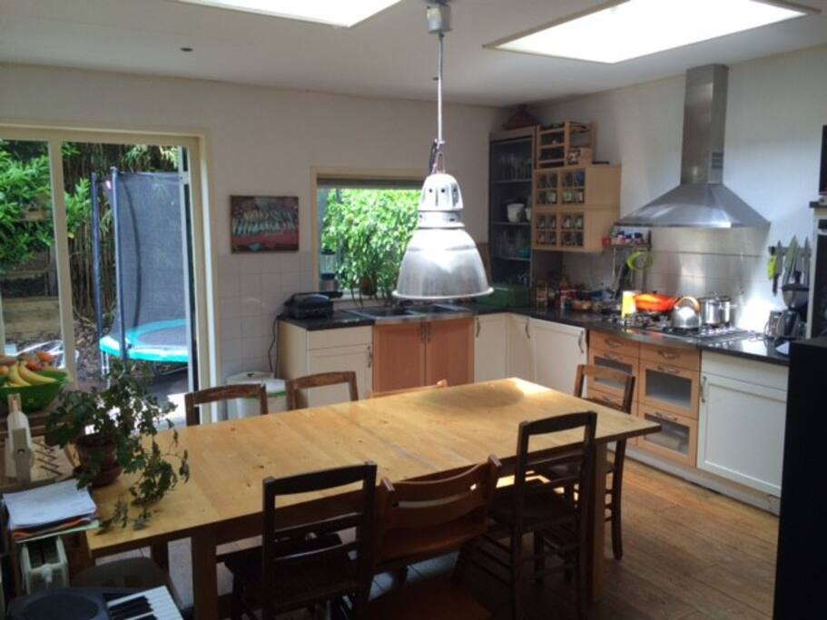 Kitchen, with 2 doors to the garden.