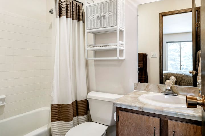 Private bathroom is fully stocked with plenty of extra towels for the pool and sauna.