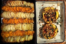 Sample dishes: potato and sweet potato gratin and stuffed squash