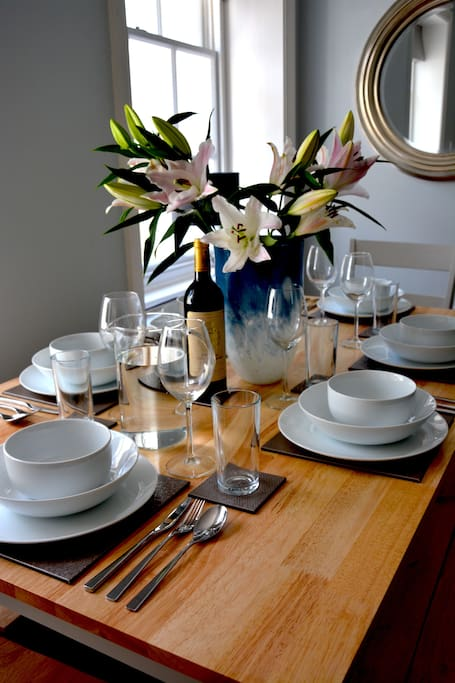 Dining for six in the large, light lounge