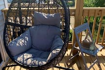 Comfy swing egg chair perfect for relaxing after sight-seeing.