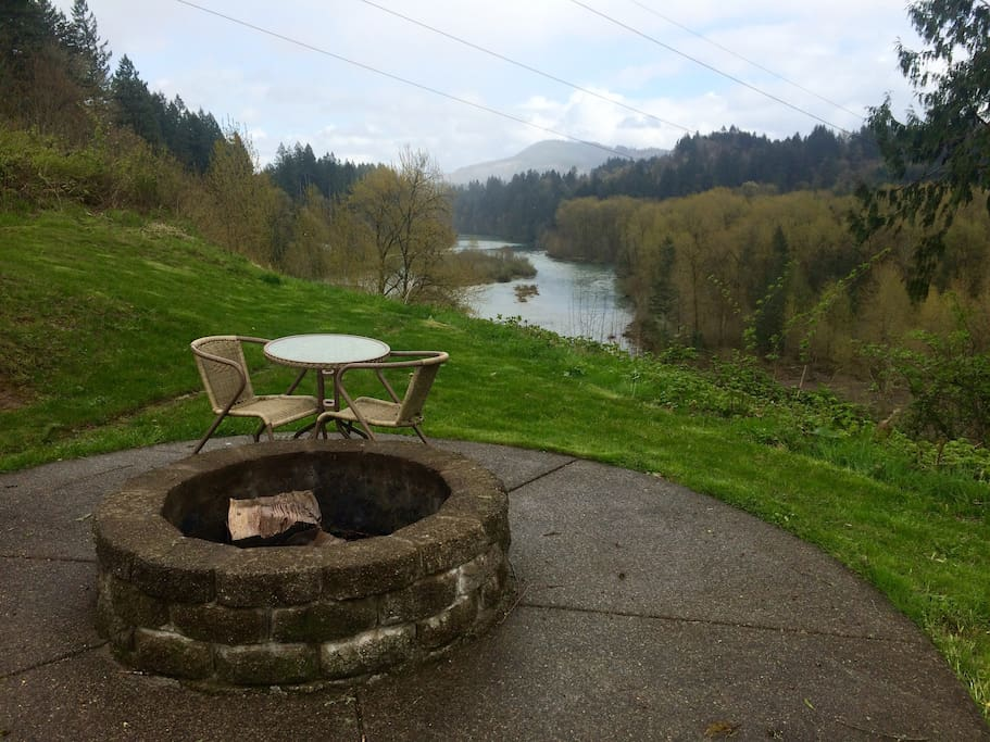 Your own fireplace with sitting area and beautiful view of the river