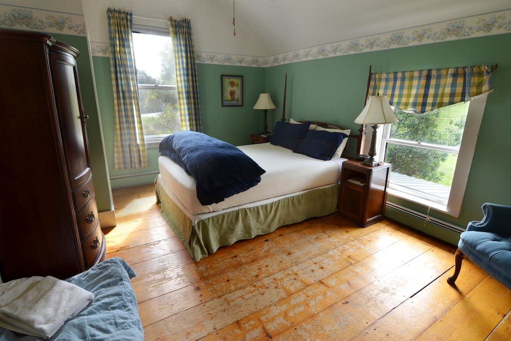 Our inn is a historic 1786 farmhouse with original wood floors, large bath and beautiful views, each room has a custom built dog bed and easy access to our spacious dog park and agility course.