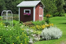 Flower gardens and the bunk house