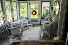 The sitting area on the sun porch
