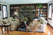 The living room with fire place