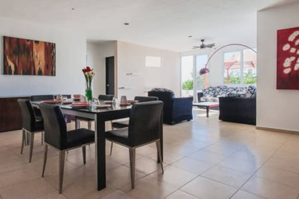 dining and living looking your private terrace