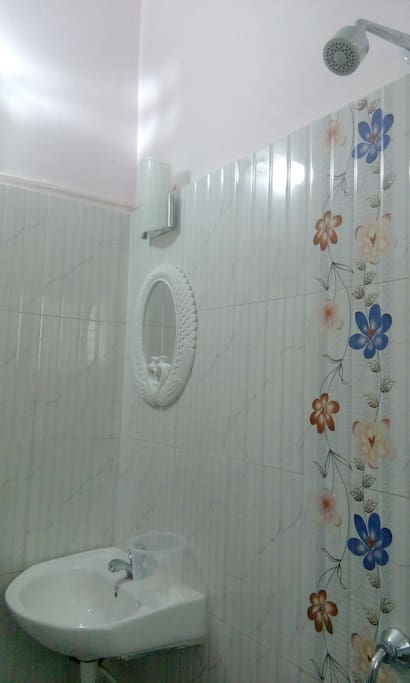 A beautifully decorated and well lit up washroom exclusively for the guest with shower and basin as well.
