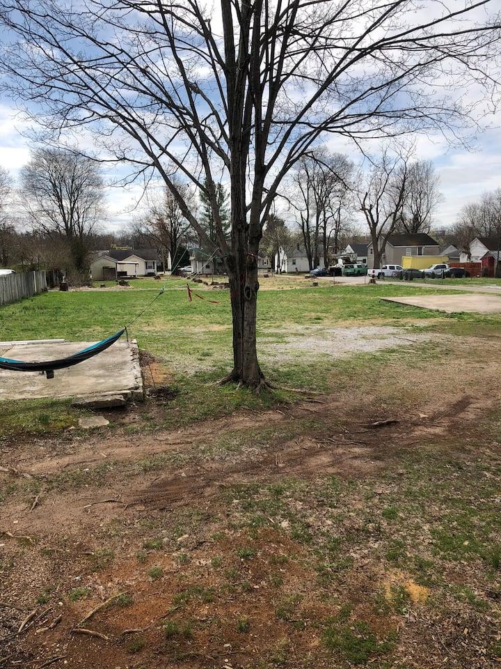 Downtown Backyard green camping lot! 🏕⛱