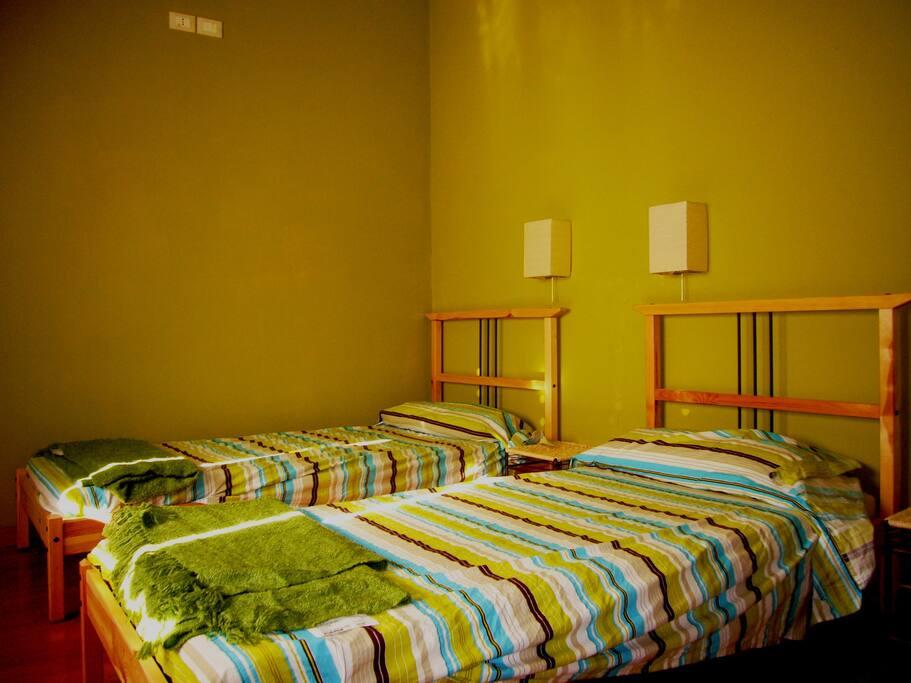 La stanza del bosco: una doppia con letti singoli affacciata sul giardino
