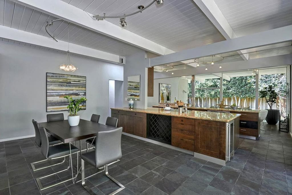 Open space with large kitchen
