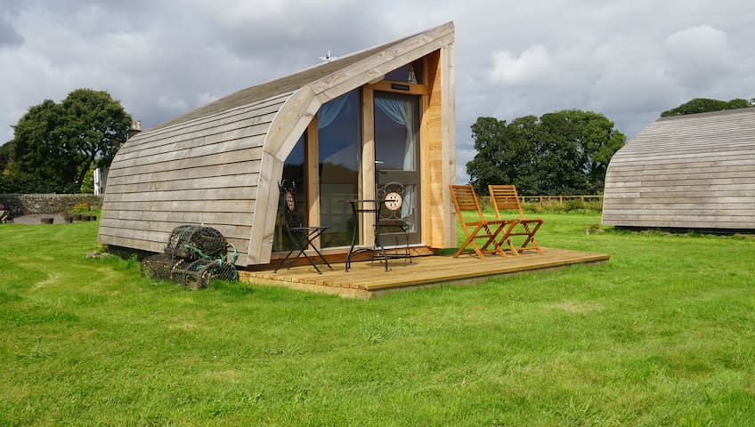 Luxury Glamping pods near Lunan Bay beach