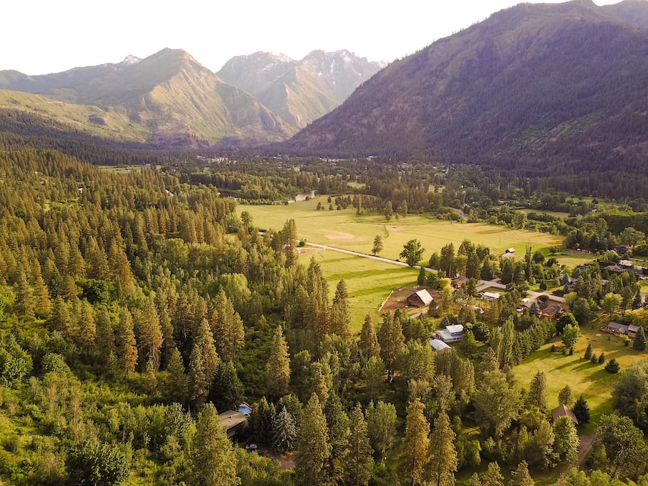 Bird's Eye View of our property in the Icicle Valley.