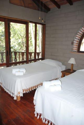 Dos camas individuales, balcón, baño privado