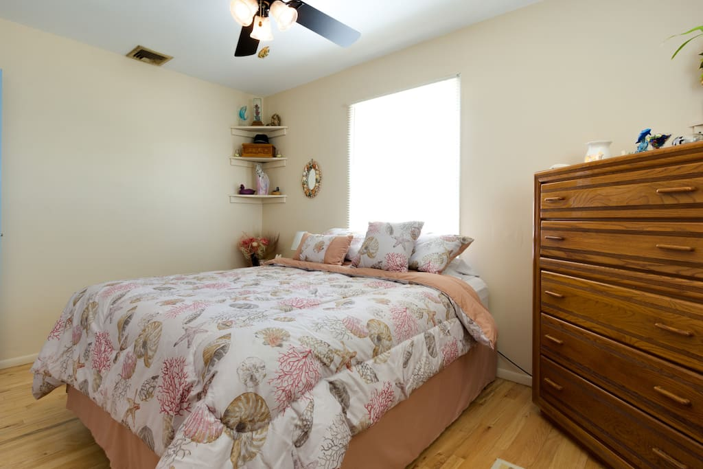 Large, bright, private bedroom with comfortable Queen bed with a/c.