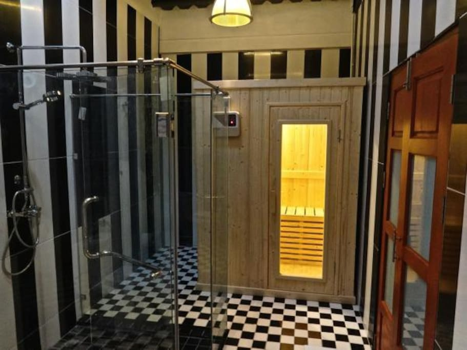 200 sq. ft. bathroom with sauna shower from Milan