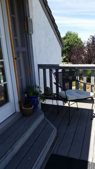 Upstairs Patio, herb garden in the planters.