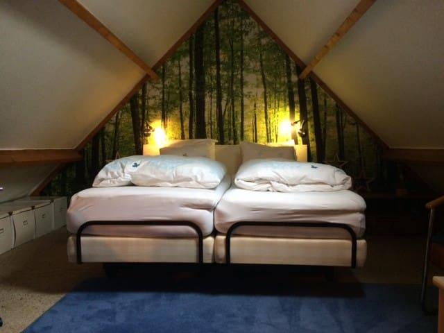 Bosrijke ruime zolder met heerlijk bed!