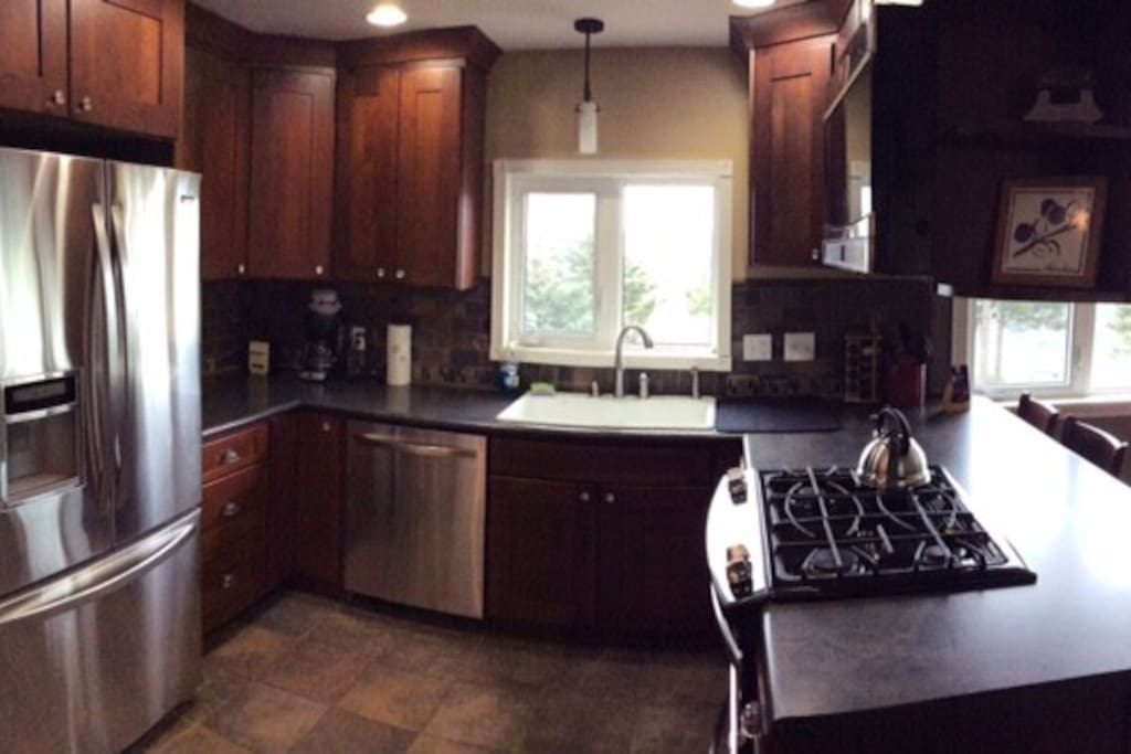 Gourmet kitchen with all new stainless appliances.