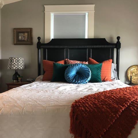Master bedroom with room darkening shades