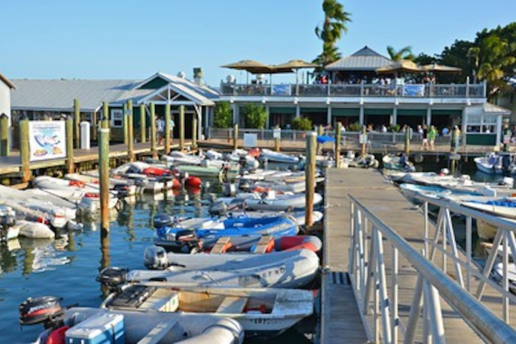 Key West dinghy dock. These are the 13 ft craft we take out to big boats.  THESE ARE SMALL BOATS!!!.