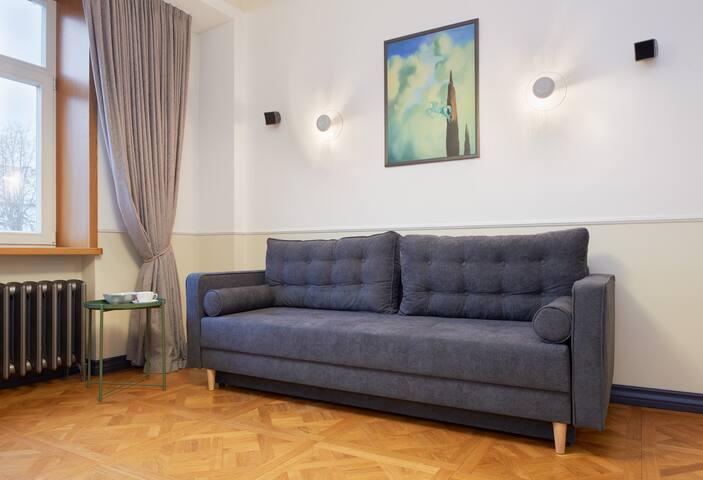 The sofa transforms into sofa bed