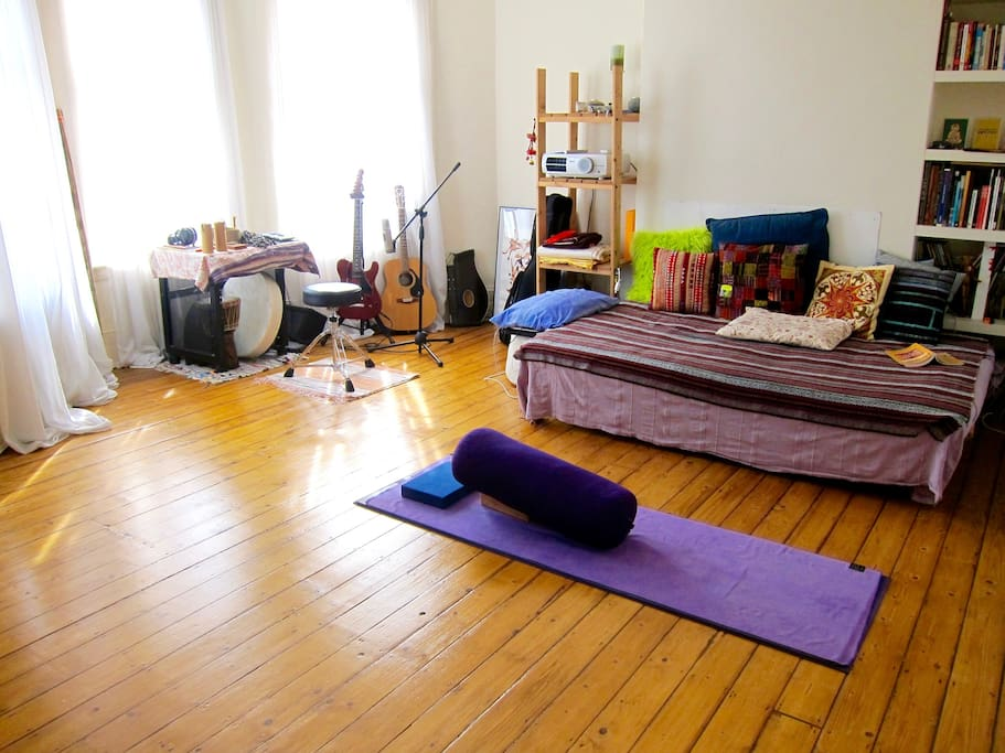 The lounge space (set up for restorative yoga, home cinema and sound healing)