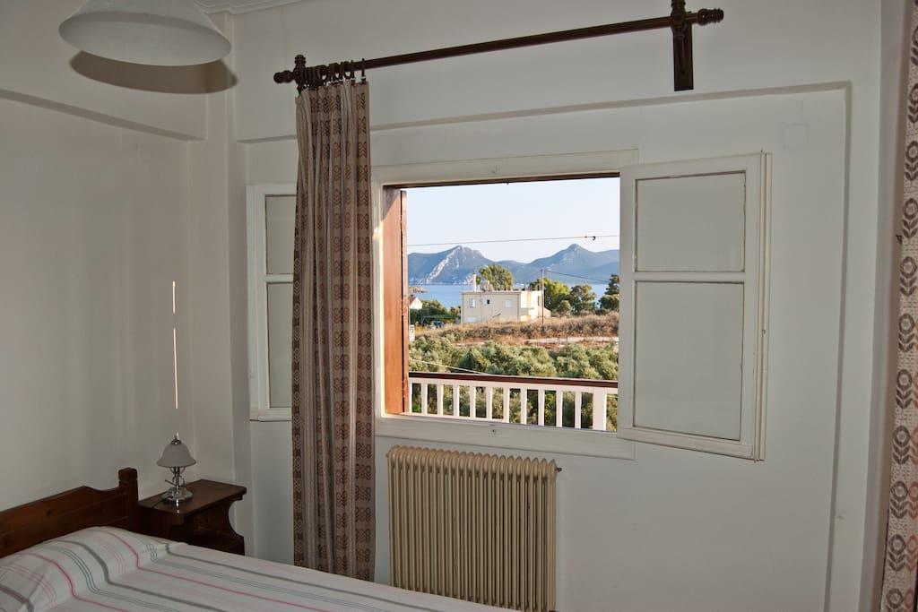 La camera da letto con vista