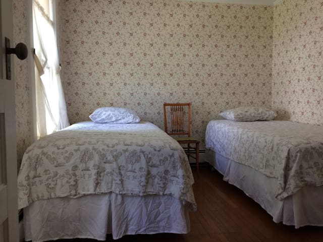 second floor bedroom with 2 single beds, cotton linens, large closet.