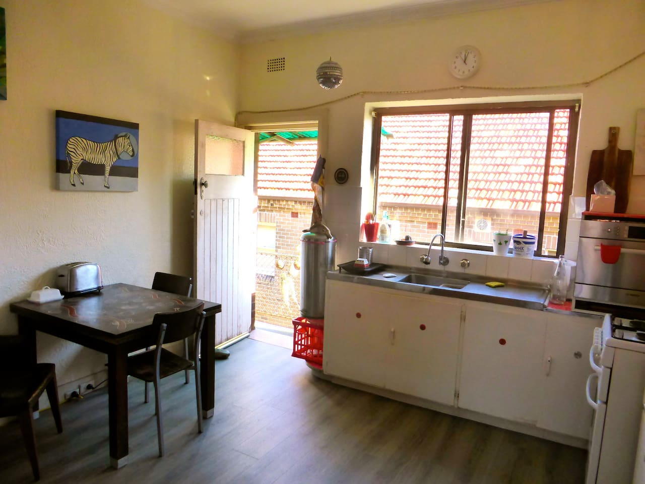 Large kitchen - fully equipped with KitchenAid,  Microwave, Dishwasher, large fridge, oven. Table can expand to seat 8.