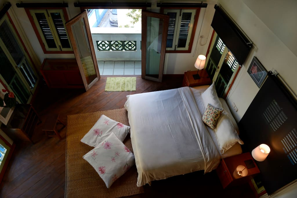 View from the loft towards the king sized bed.
