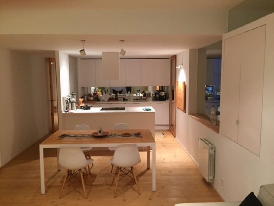 Open plan kitchen, living and dining area
