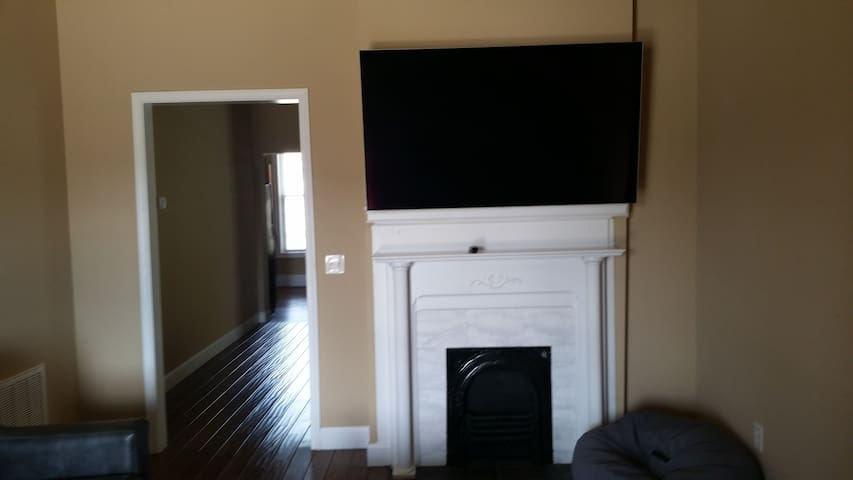 Comfy couch with big screen tv