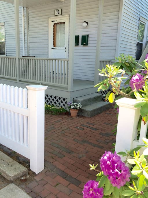 Porch with private entrance to apartment