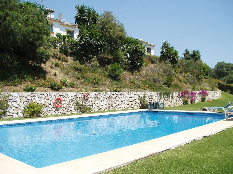 Quiet secluded pool with play area