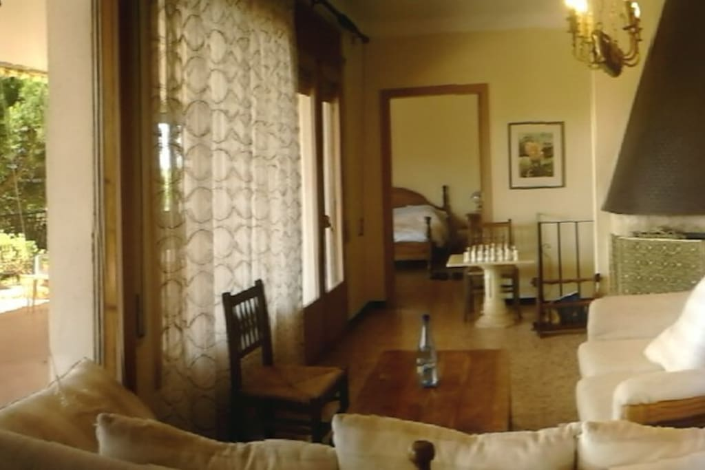 Salon avec accés terrasse et chambre principale