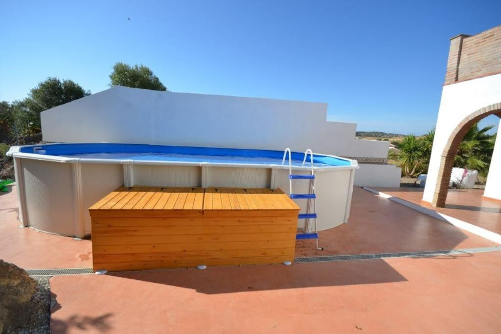The Private Pool area with a child friendly 7.5m by 4.5m above ground pool