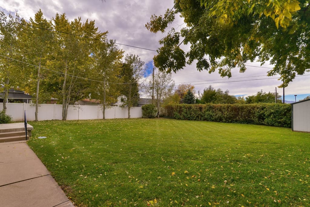 Large fenced private backyard