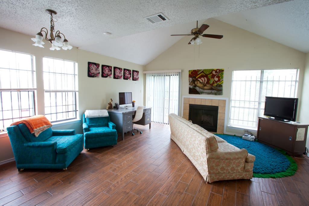 Very large living space with funky, vintage vibes