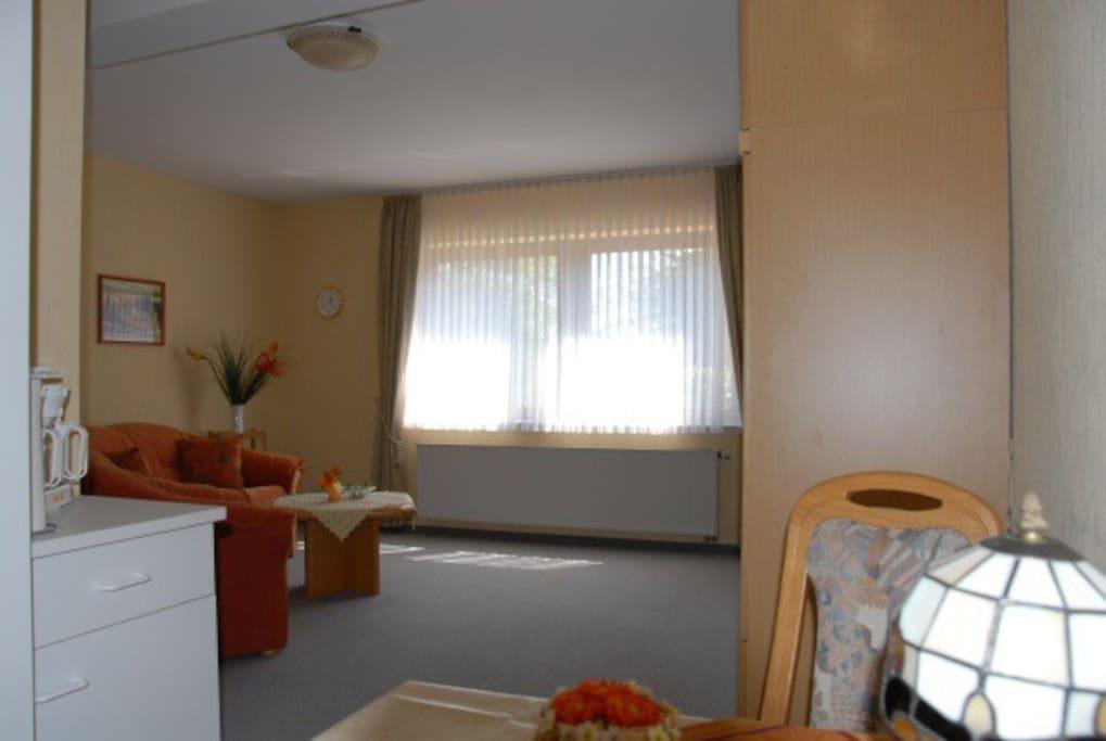 Zwei große Fenster durchfluten bei Bedarf das Appartement mit Licht.