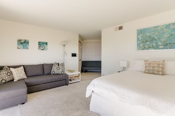 Spacious area to relax. Sofa converts to double bed. Modern, smart new furniture.